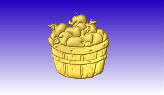 Apple Basket or Bushel Vector Relief Art Model for cnc router.