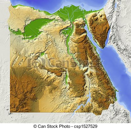 Stock Illustration of Egypt, shaded relief map.