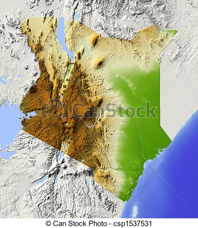 Clipart of Kenya, shaded relief map.