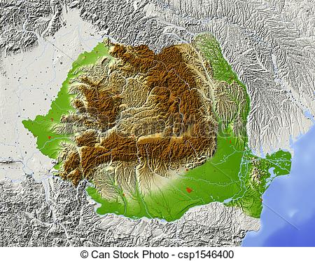 Stock Illustration of Romania, shaded relief map.
