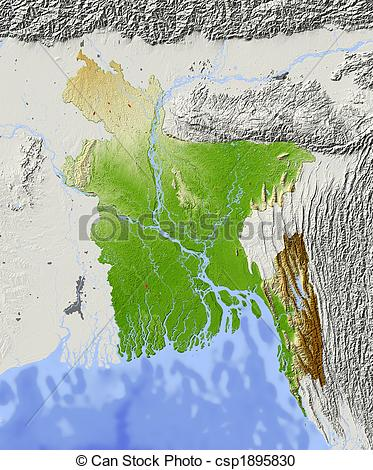 Stock Illustration of Bangladesh, shaded relief map.