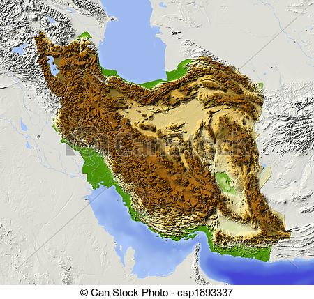 Stock Illustrations of Iran, shaded relief map.