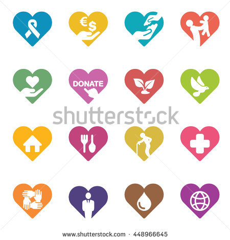 Heart Charity And Relief Work Colour Harmony Icons Stock Vector.