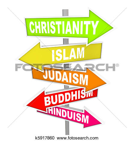 Stock Photography of Five Major World Religions on Arrow Signs.