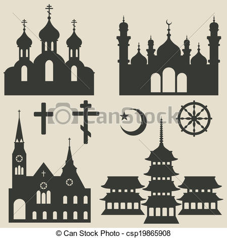 Vector Clipart of religious buildings set and symbol.