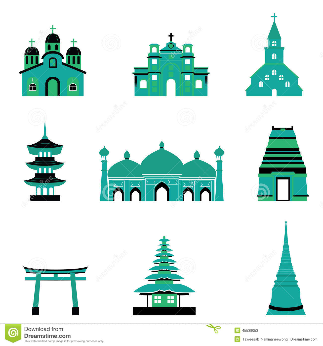 Set Of Church Temple Mosque Religion Building And Architecture.