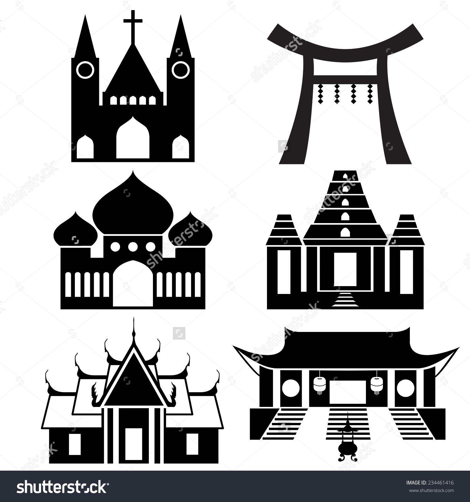 Black Icon Show Each Religious Place Stock Vector 234461416.