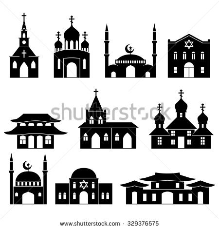 Asia building icons set, Silhouette of the city black and white.
