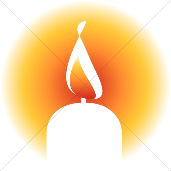 Brightly Lit Candle Clipart.