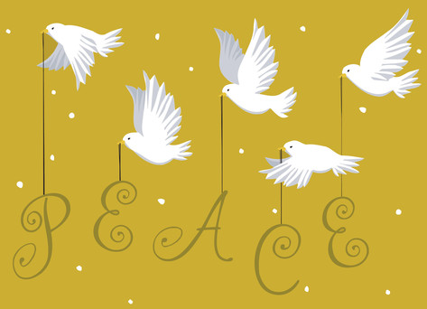 Peace Clipart Christmas Card.