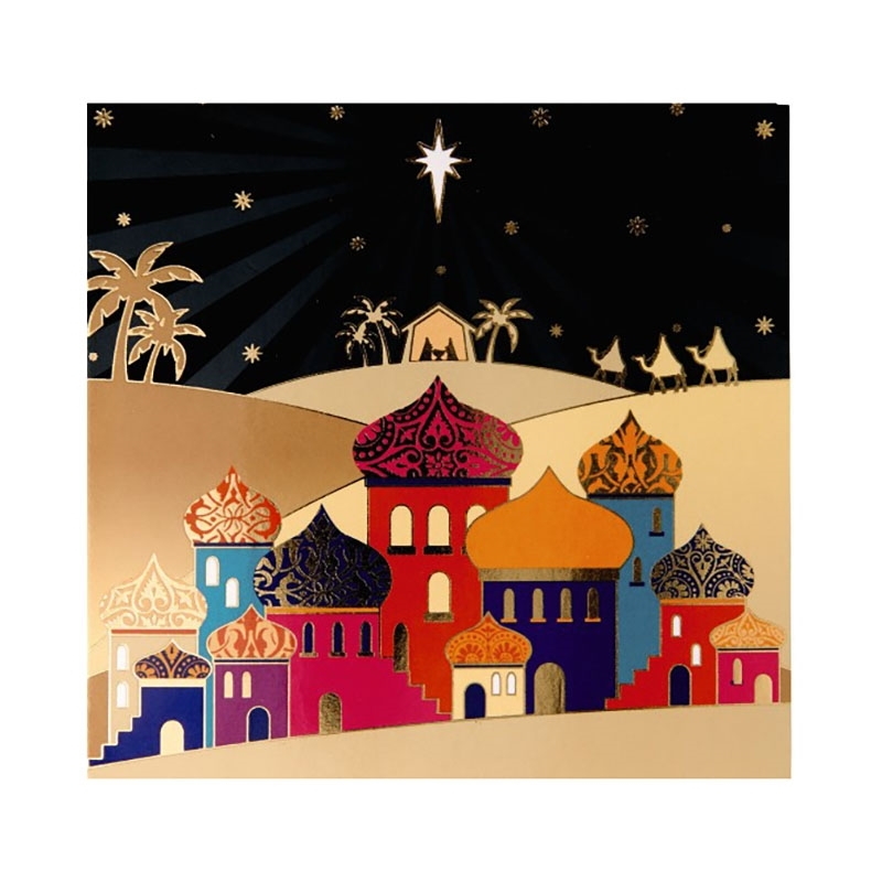 Colourful Bethlehem Charity Christmas Cards (Welsh Greeting).