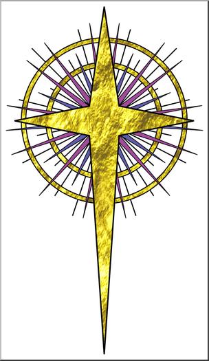 Clip Art: Religious: Christmas Star 6 Color 1 I abcteach.com.