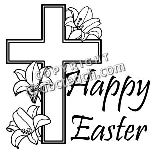 Religious Easter Clip Art Black And White.