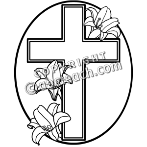 Easter Clipart Black And White Religious Cross.