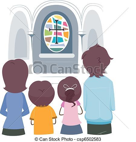 Stock Illustration of Christian family.