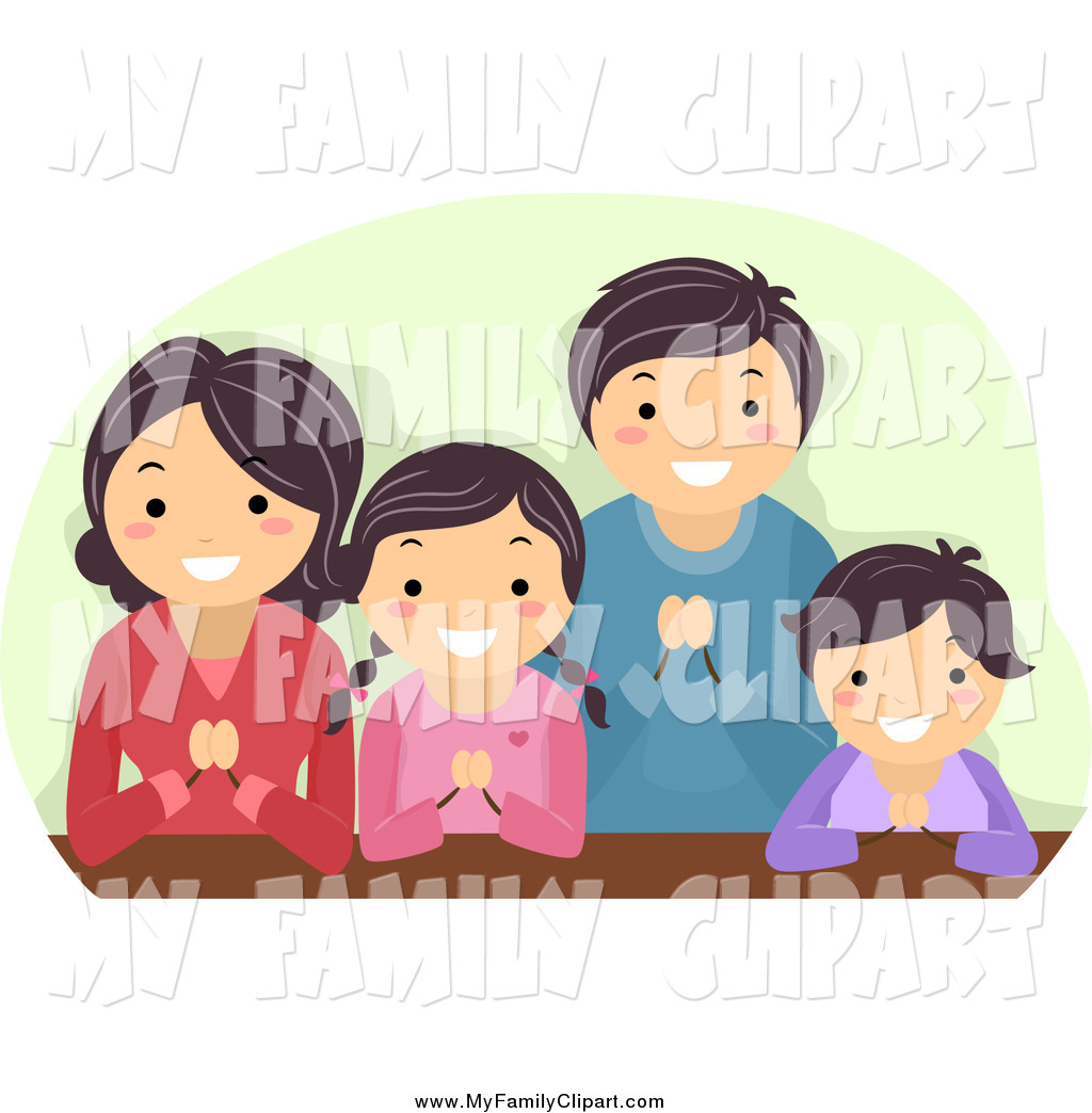 Clip Art of a Happy Religious Asian Family in Prayer by BNP Design.