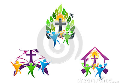 People Church Christian Logo, Bible,dove And Religious Family Icon.