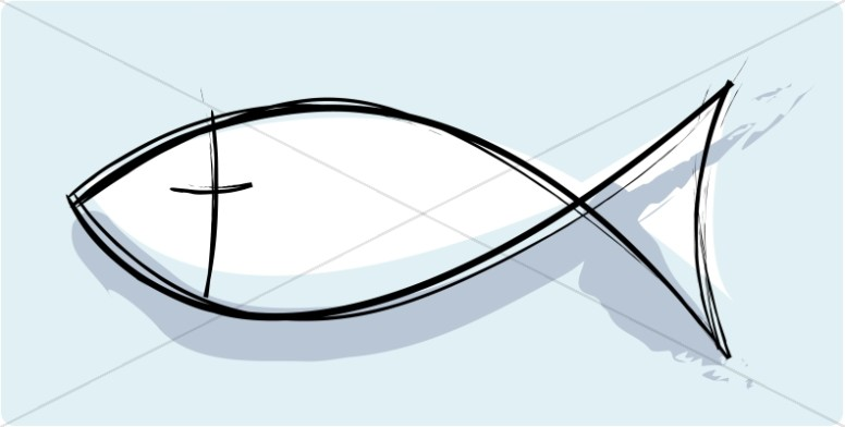 Artistic Christian Fish Symbol.