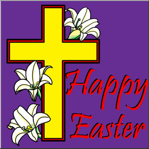 Clip Art: Religious: Happy Easter with Cross Color I.