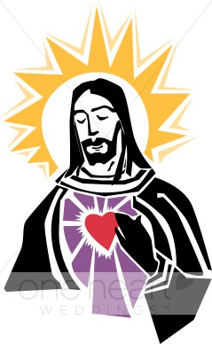 Jesus with Gold Halo and Red Heart Clipart.