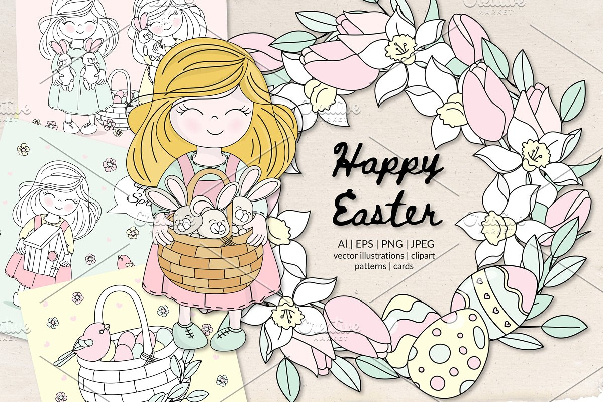 HAPPY EASTER Holiday Vector Set.