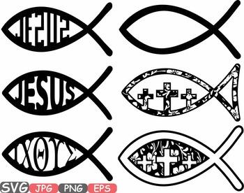 Jesus Fish religious symbol Christ Bible sign icons God clipart svg cross.