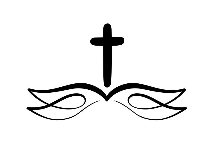 Vector illustration of Christian Logo. Emblem with Cross and.