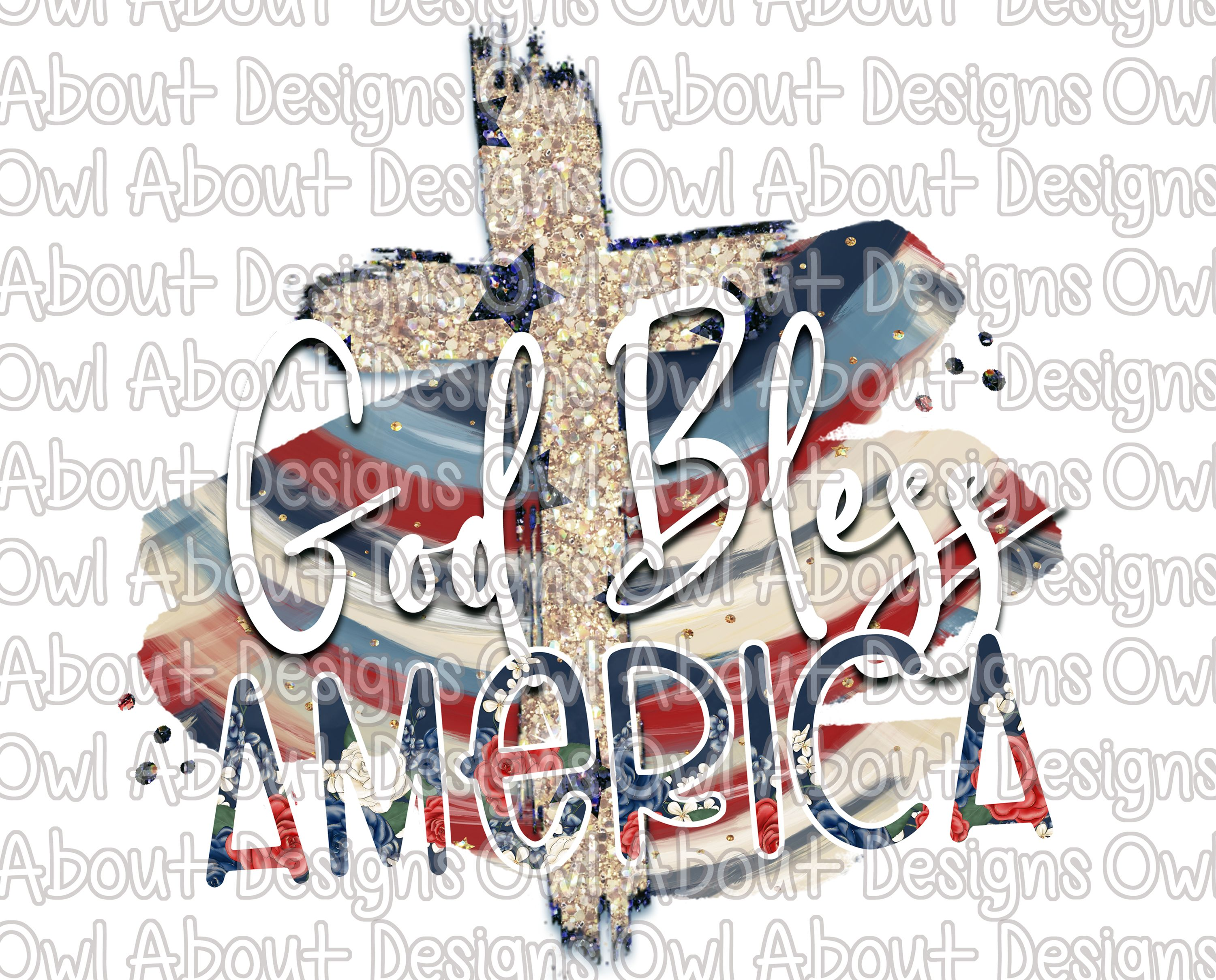 God Bless America Cross Digital Download. Fourth of July.