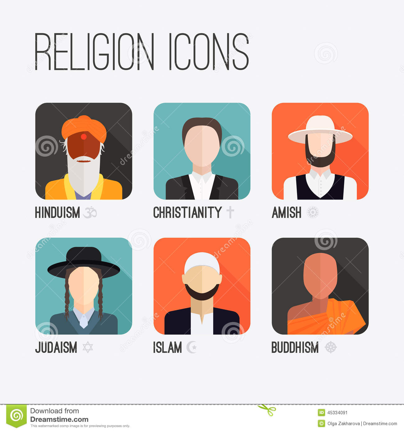 Religion Of People In The World Cliparts Stock Vector.