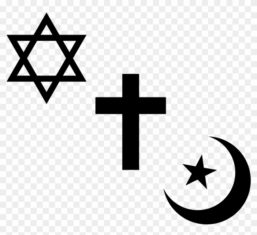 Religious Symbols Of Judaism, Christianity And Islam.