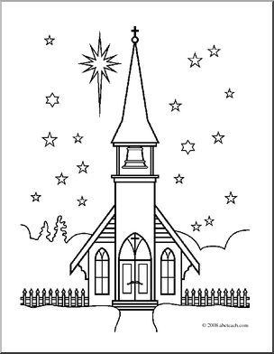 Clip Art: Religious: Winter Church (coloring page) I.