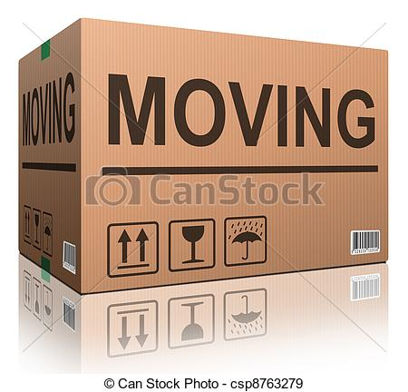 Stock Illustration of moving or relocation cardboard box.