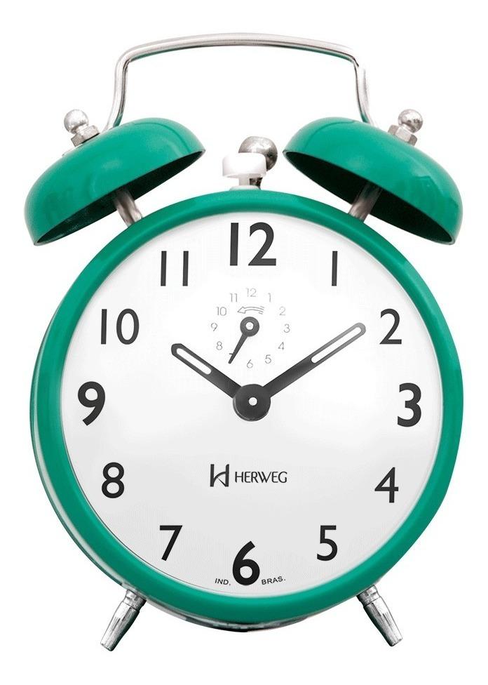 Relógio Despertador A Cordas Antigo Verde Herweg 2202.