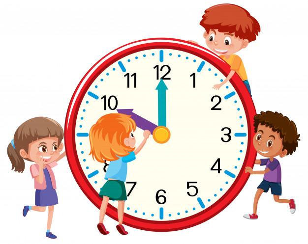 Crianças em torno de um relógio.