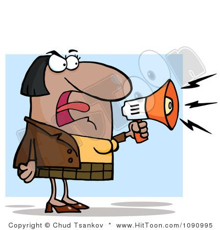 Businesswoman Shouting Bossy Remarks Through A Megaphone.