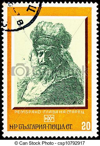Clipart of Old Man Fur Cap Flowing Beard Rembrandt.