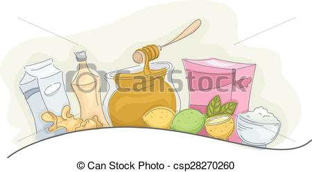 Clip Art Vector of Home Remedies Natural Products.