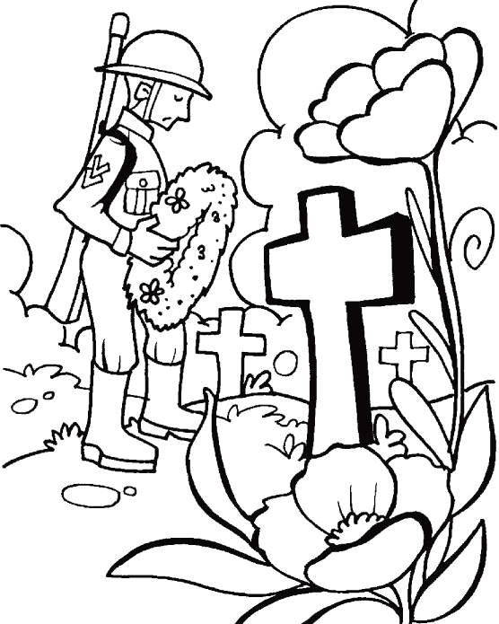 A Visit To The Tomb On Memorial Day Coloring For Kids.