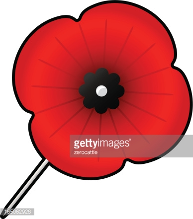 Quilted Remembrance Day Poppy Vector Art.