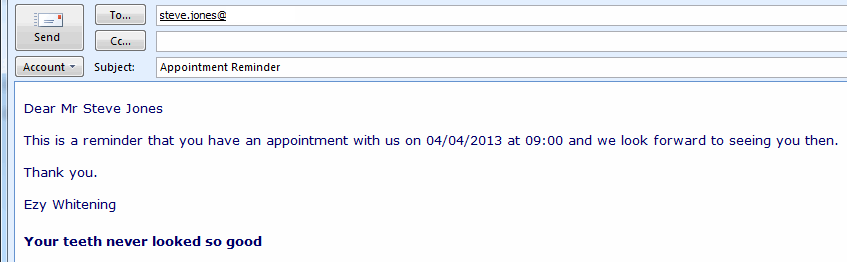 Appointment Reminder Email Software.