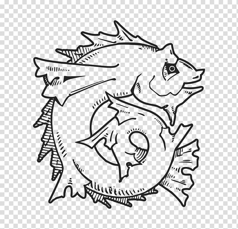 Line art Drawing , remove fishy transparent background PNG.