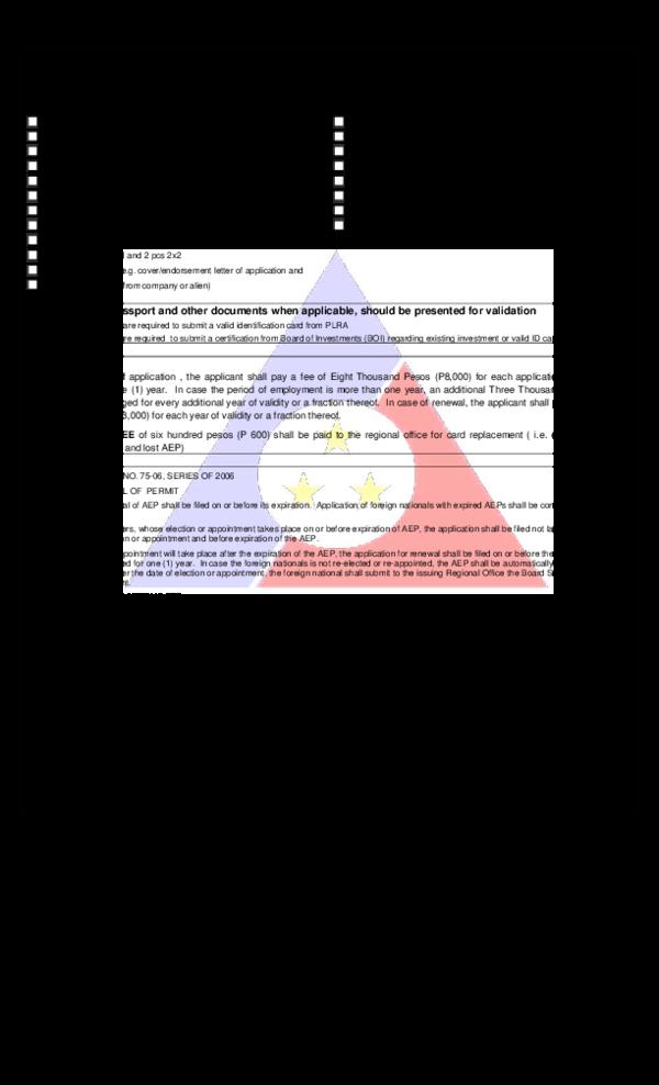 PDF) CHECKLIST OF REQUIREMENTS FOR ALIEN EMPLOYMENT PERMIT.
