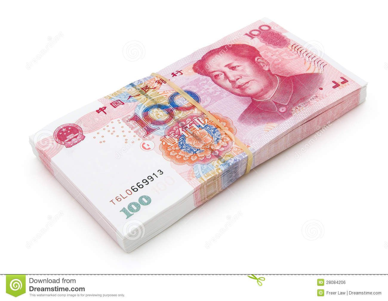 Stack Of Brand New RMB 100 Royalty Free Stock Image.