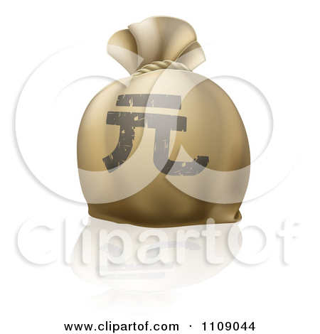 Clipart Money Bag Sack With A Chinese Yuan Renminbi Currency.