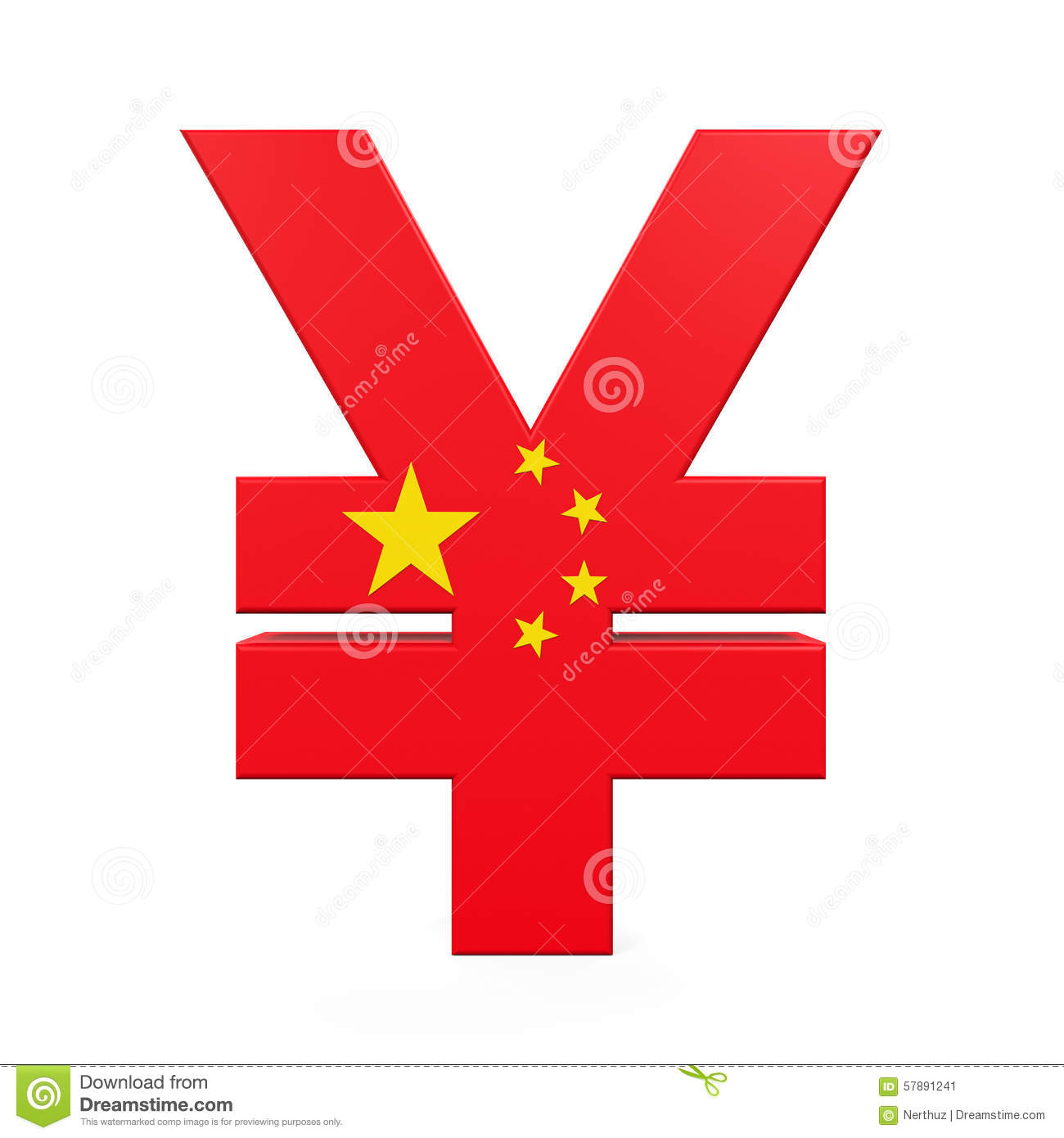 Chinese Yuan Symbol Stock Illustration.