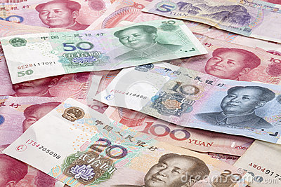 Chinese Yuan Renminbi Currency Background Stock Photo.