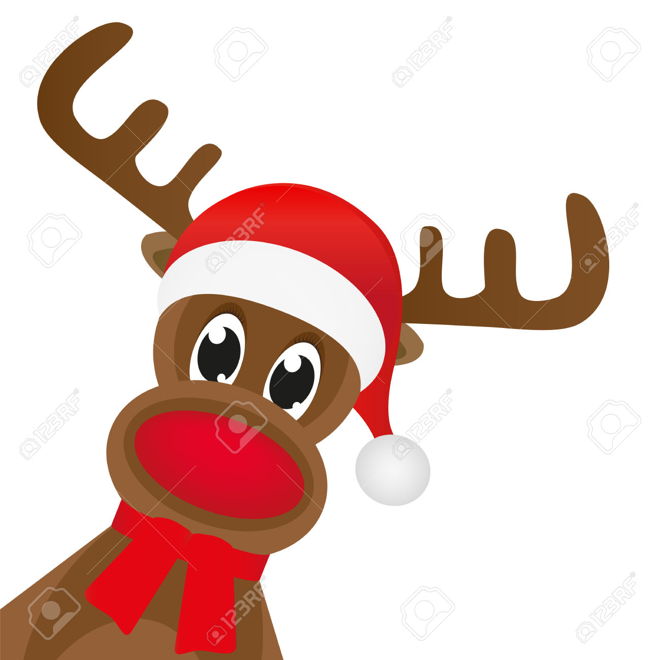 Christmas Reindeer In A Red Scarf Royalty Free Cliparts, Vectors.