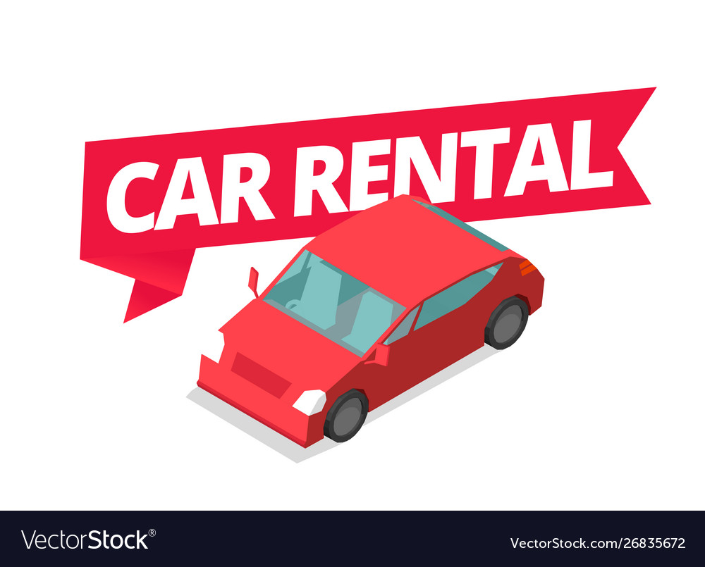 Car rental car for rent word on red ribbon.