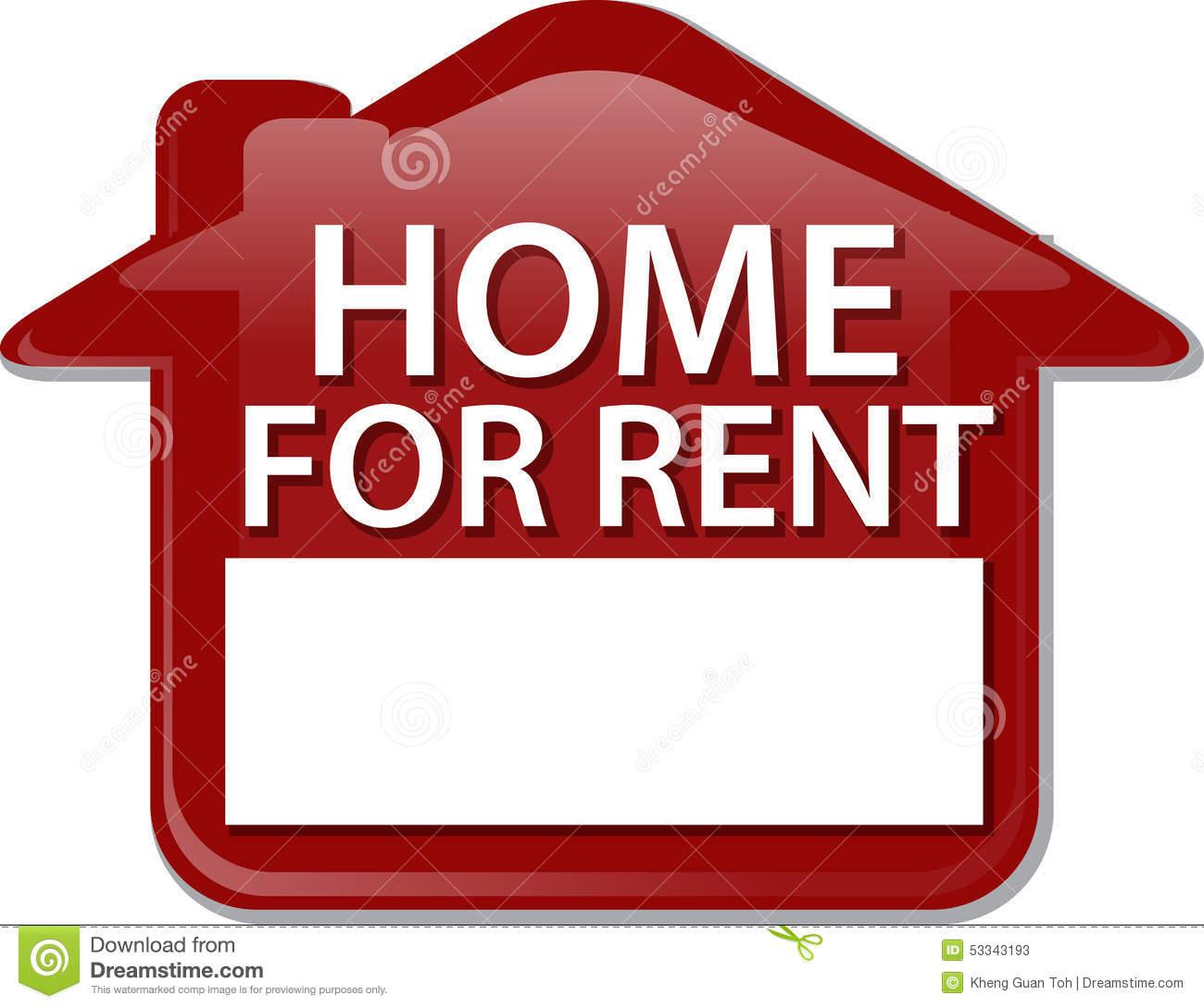 Home For Rent Sign Illustration Clipart Stock Illustration.