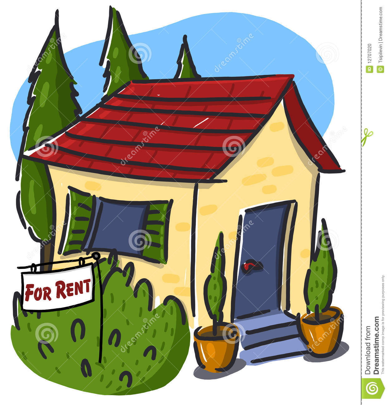 House For Rent Illustration Stock Photo.